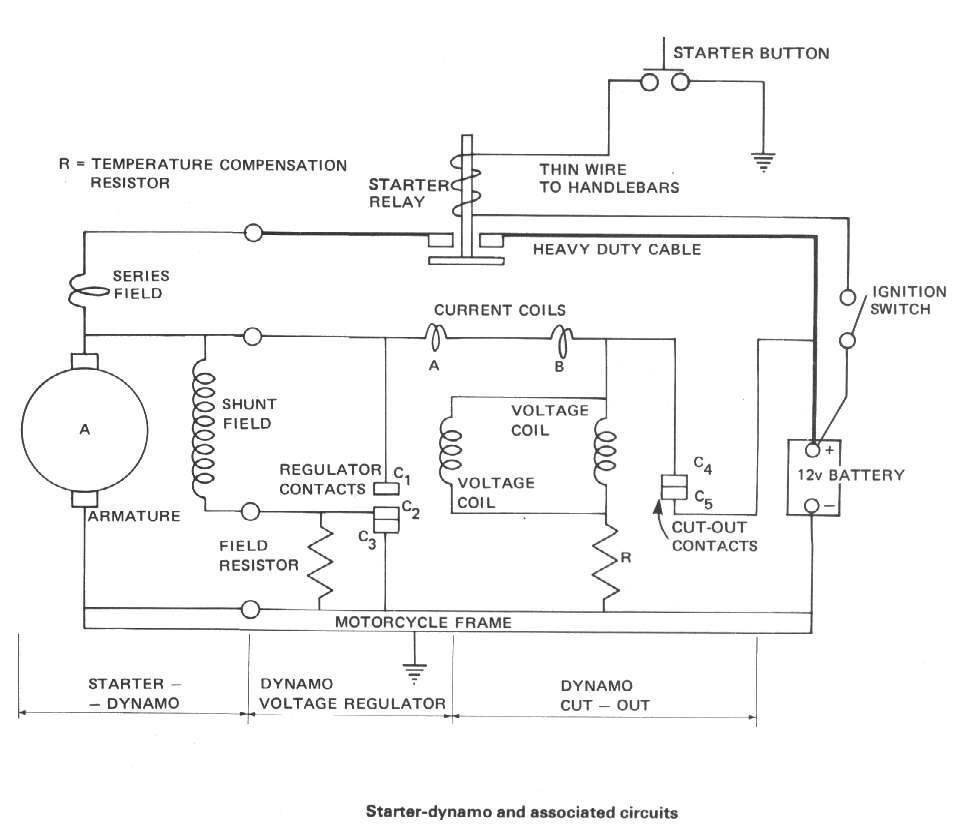 dan\u0027s motorcycle generator electric starter (dynamo)Starter Wiring Diagram With Regulator #4